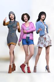 若いおしゃれなファッションをした3人の女子がそれぞれのポーズをとって立っている
