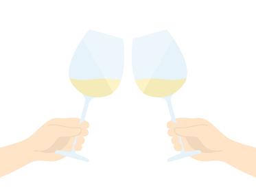 白ワインで乾杯するイラスト