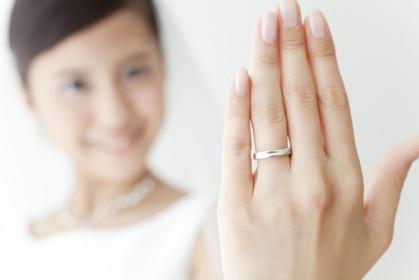 結婚指輪を見せる花嫁