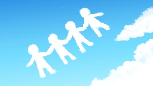 手を繋ぐ人の形の雲のある青い空のイラスト