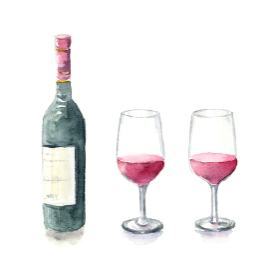 ワインとボトル 影あり 水彩イラスト