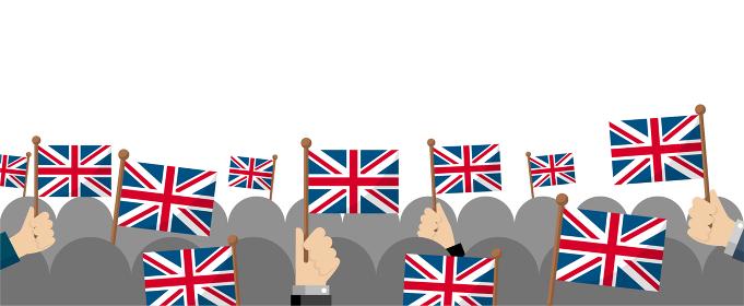 手持ち国旗 集団・群衆イラスト ( 愛国心・イベント・お祝い ・デモ) / イギリス・英国