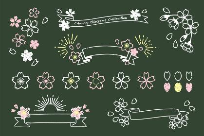 手描き風のシンプルな桜アイコンとリボン素材(黒板)