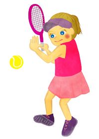 テニス少女 ラケットでテニスボールを打つ場面 コケージャンバージョン