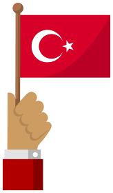 手持ち国旗イラスト ( 愛国心・イベント・お祝い・デモ ) / トルコ