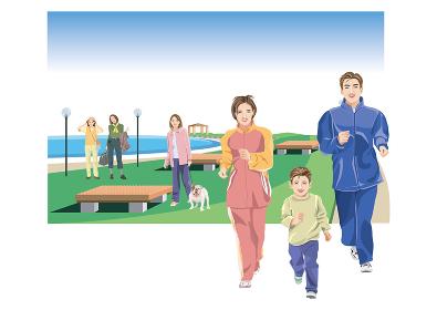 海辺の公園でジョギングをする夫婦と息子、犬を散歩する女性と観光客