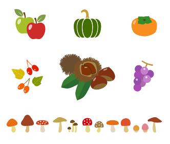 秋の食べ物アイコンセット