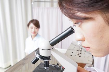 顕微鏡を見る医師と看護師