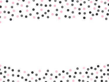 ピンクとモノクロのレトロガーリーな水玉背景 白バック