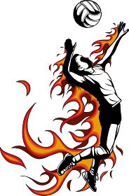 Silhouette of volleyball player with flames. Vector illustration.