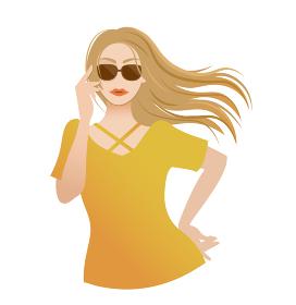 髪が風になびいているサングラスを着用した女性