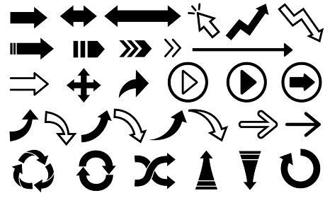 様々な種類のモノクロの矢印のベクターイラスト素材