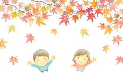 もみじを見上げる男の子と女の子の水彩イラスト