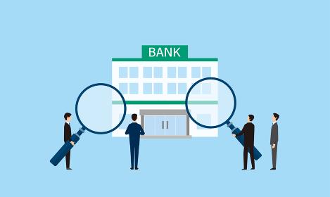 虫眼鏡を持つビジネスパーソン、銀行を調査するイメージ、ベクターイラストレーション