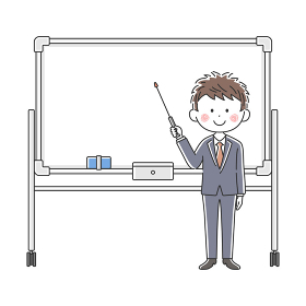 ホワイトボードで説明する日本人医師のイラスト