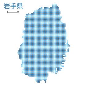 岩手県の詳細地図東北地方|都道府県別ドット表現の地図のイラスト ベクターデータ