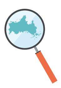 虫眼鏡ルーペ拡大鏡と山口県の詳細地図中国地方 都道府県別地図のイラスト ベクターデータ