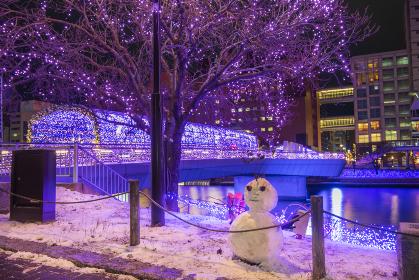 雪の小倉イルミネーション夜景