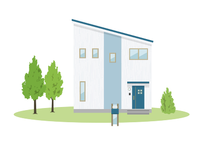 モダンな戸建て住宅のイラスト(片流れ屋根)