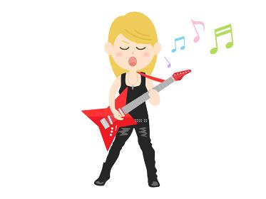 女性ロックミュージシャンのイラスト