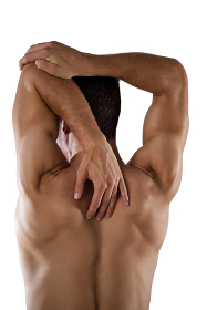 Rear view of shirtless sports person stretching hands