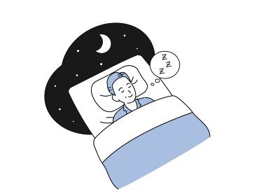 布団で眠る中高年の男性 就寝 睡眠 ミドル イラスト素材