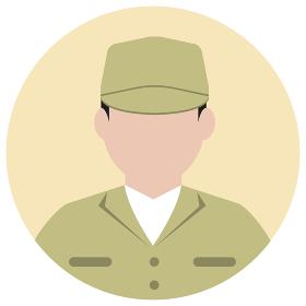 シルエット人物 円形アバターイラスト/ 労働者・作業員・清掃員・軍人労働者・作業員・清掃員・軍人
