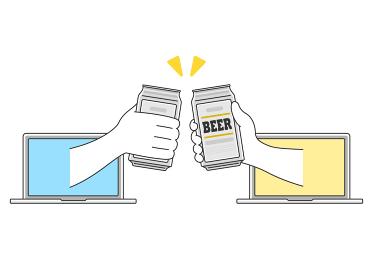 オンライン飲み会で乾杯をするイラスト