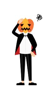 ハロウィンの仮装、カボチャのお化け姿の男の子が頭に手を当てて困っているポーズ