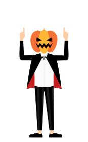 ハロウィンの仮装、カボチャのお化け姿の男の子が両手で指さしをするポーズ