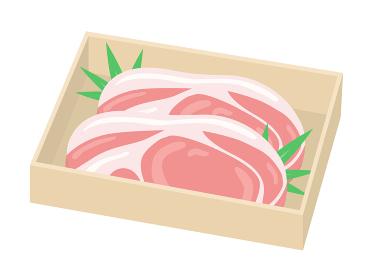 木箱に入った豚肉のイラスト
