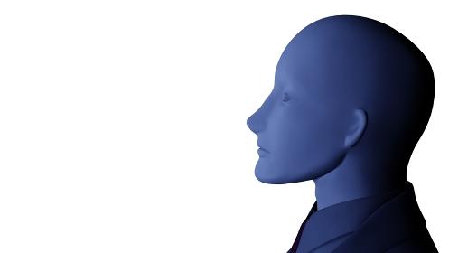 青白く照らされた男性マネキンの横顔 3DCG