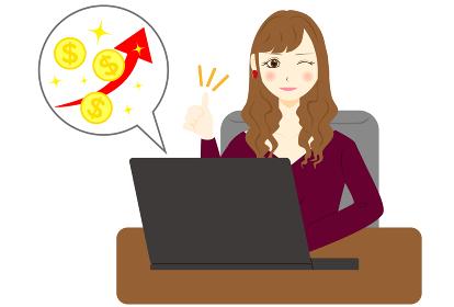 パソコン 女性 ドル プラス