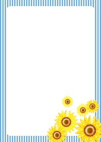 夏のイメージの手描きタッチのヒマワリ向日葵の背景イラスト|フレーム・バックグラウンド
