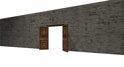 高い石壁と開かれた木製扉の3dレンダリング