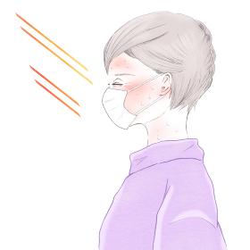 マスク熱中症とシニア女性の横顔