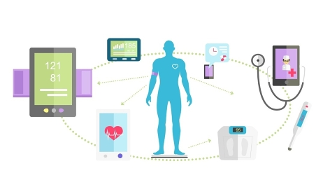 Mhealth technologies system icon flat isolated. Healthcare test, science mobile control, healthy and research medication, medical, scan app, health and patient, aid human illustration