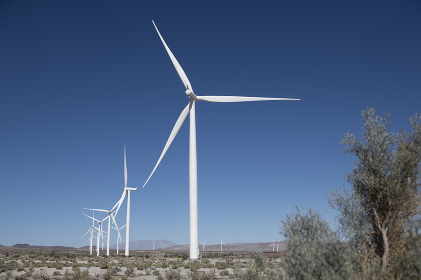Wind mills, bright sunny day, blue skies, in the Anza Borrego desert