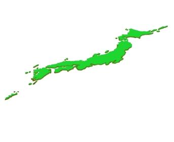 斜めから見た影のついた日本の地図のイラストイメージ