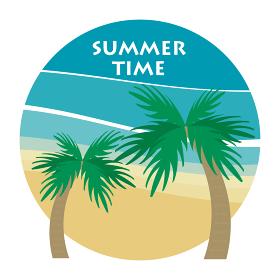 アイコン、ヤシの木とビーチ、ロゴ