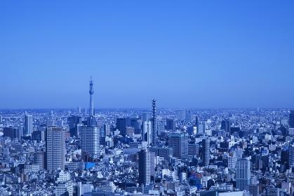 東京都心の街並みと建設中の東京スカイツリー