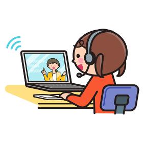 オンライン授業を受ける女の子・パソコン・PC