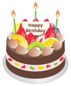 フルーツとチョコレートのお誕生日ケーキ