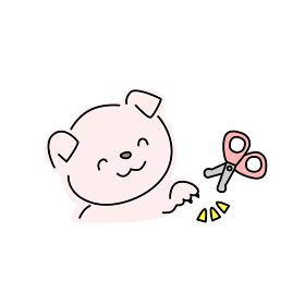 犬の爪切りのイラスト(ピンク)
