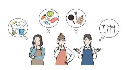 家事に困る主婦たち 料理 洗濯 掃除 イラスト素材