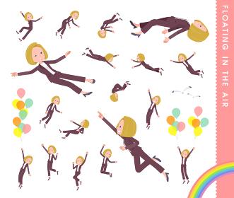 空中に浮かぶ金髪ビジネス女性のセット