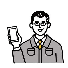 作業服 男性 ミドルエイジ スマホ スマートフォン 携帯電話 携帯 ポップ 手描き