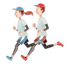ジョギング ランニング マラソン 人物 水彩 イラスト