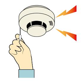 火災報知器のテストのイラスト 紐タイプ|火災報知器と手