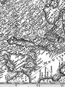 アンティークの世界地図 ギリシャとイタリア